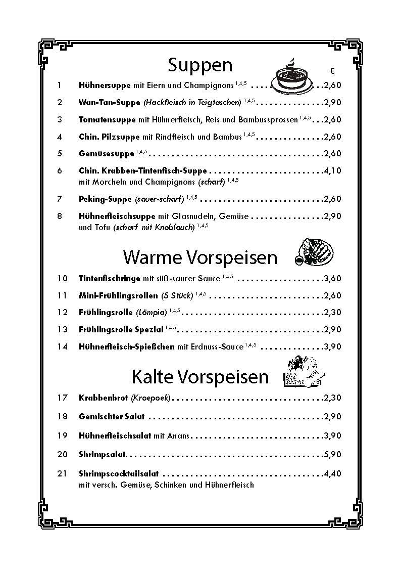 Speisekarte Kaisergarten